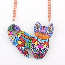 Buy Bonsny cat necklace acrylic pattern 2015 new pendant accessories spring summer aniaml multicolor girl woman fashion jewelry for $3.99 in AliExpress store