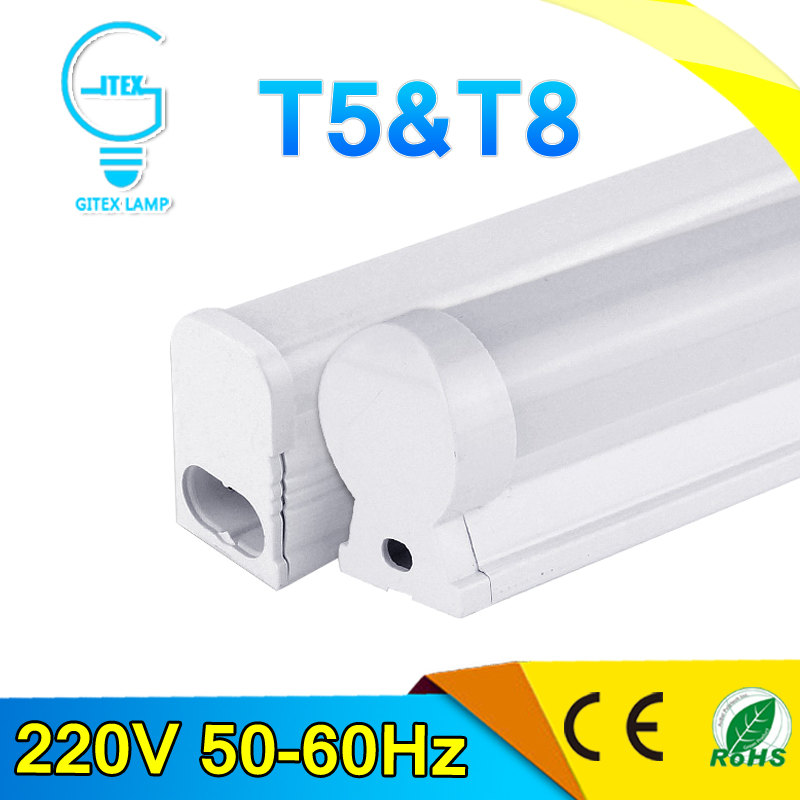 PVC Plastic 6W 10W LED Tube T8 Light 220V 240V 60cm 30cm LED Wall Lamp Cold White LED Fluorescent T5 Neon LED T5 lamp(China (Mainland))