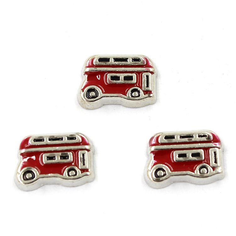English bus floating charms ,locket charms for living lockets(China (Mainland))