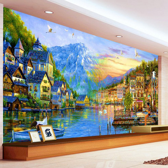 Personalized 3d wallpaper european city painting large for Cost of mural painting