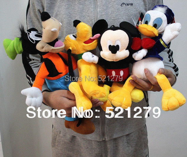 Free shipping 4pcs Mickey mouse,Donald duck,GOOFy dog,Pluto dog plush soft toys,best gift for kids&son(China (Mainland))