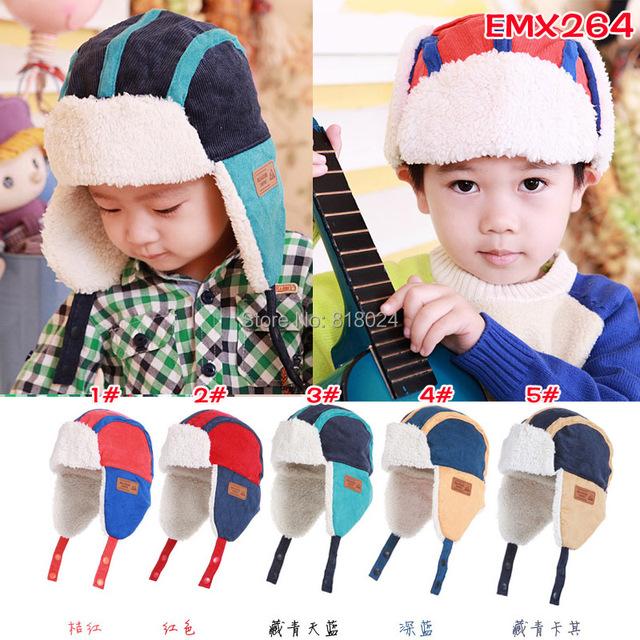 5 цветов конфеты дети мех шляпы мальчик зима шерсть шляпа с вилли внутри дети Earflap кепка для 2 - 8 лет