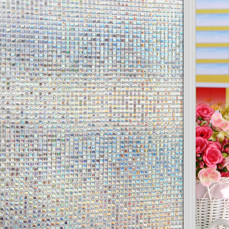 PVC 3D Static plastic glass film sunscreen anti-uv sliding door translucidus decoration mosaic Glass doors and windows stickers(China (Mainland))