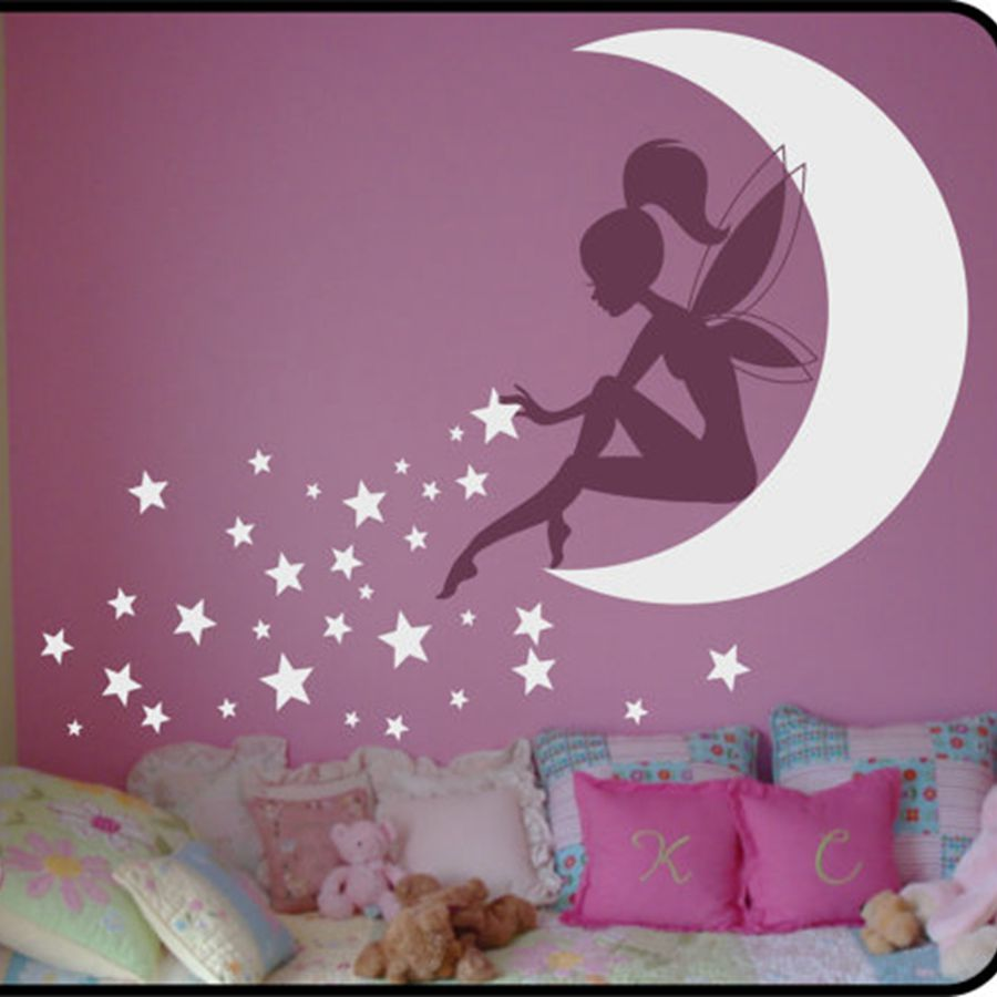 high quality large size vinyl wall stickers fairy kids. Black Bedroom Furniture Sets. Home Design Ideas
