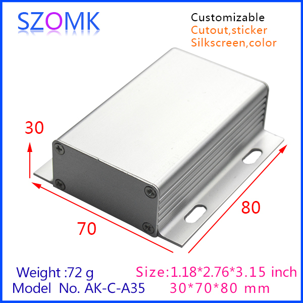 1 piece free shipping wall mounting aluminum box enclosures for electronics pcb design 30x70x80mm silver color aluminum box(China (Mainland))