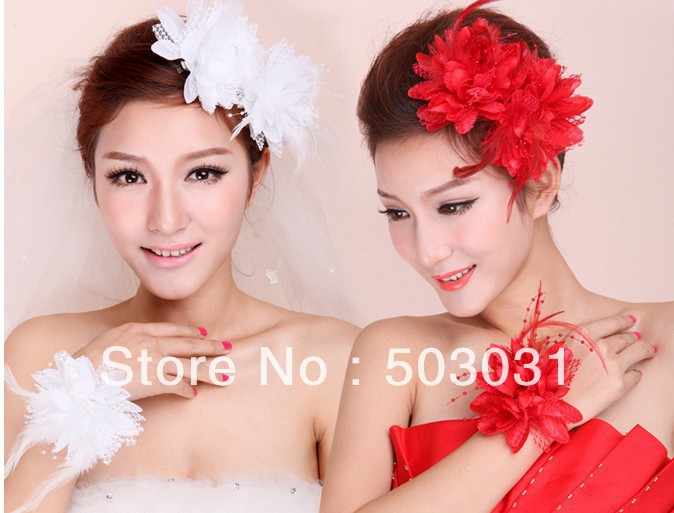 Free Shiping 50pcs/lot Wholesale girls Bridal feather Clip flowers with hair tie Hair Loop Hair Accessories For Wedding<br><br>Aliexpress