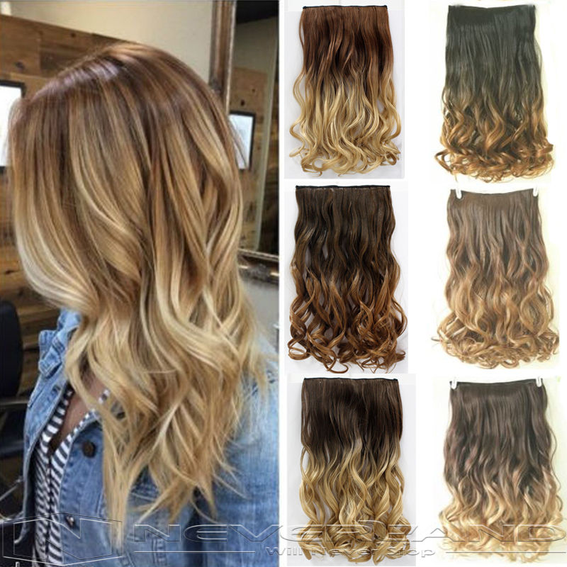 24 60cm Curly Wavy Hair Extention 3/4 Full Head Clip in Hair Extensions Curly Ombre Hairpiece 6 Color Free Shipping B10<br><br>Aliexpress