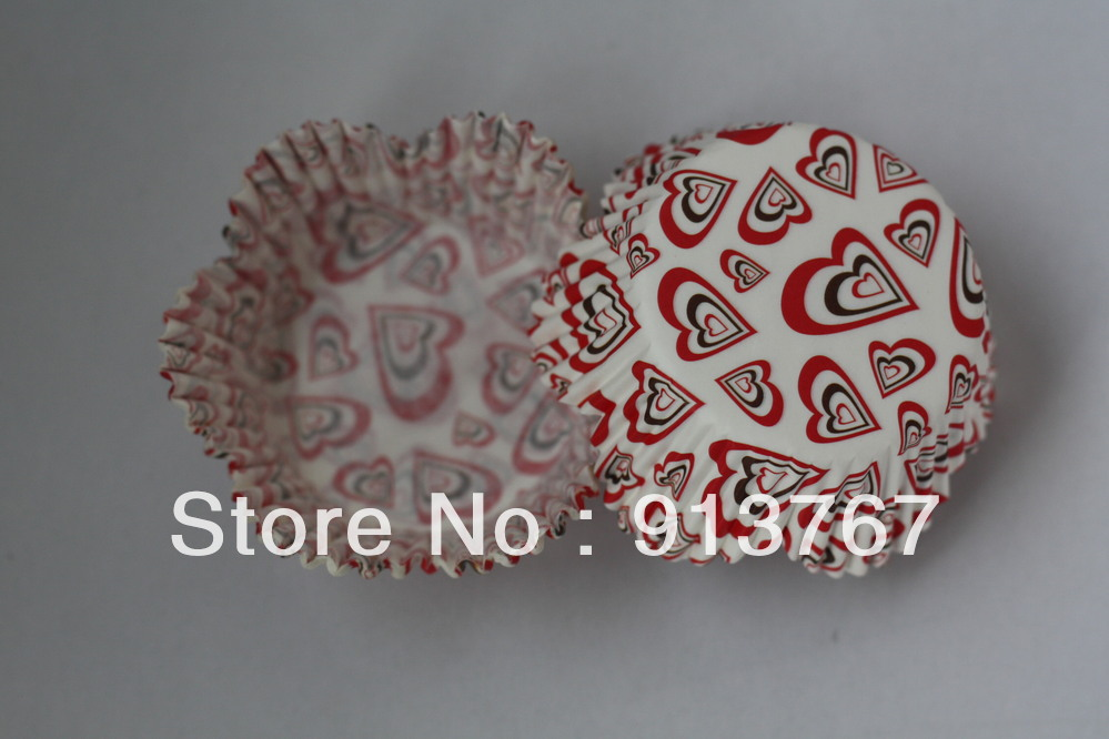 100pcs floral cup heart design paper cupcake liners muffin ...