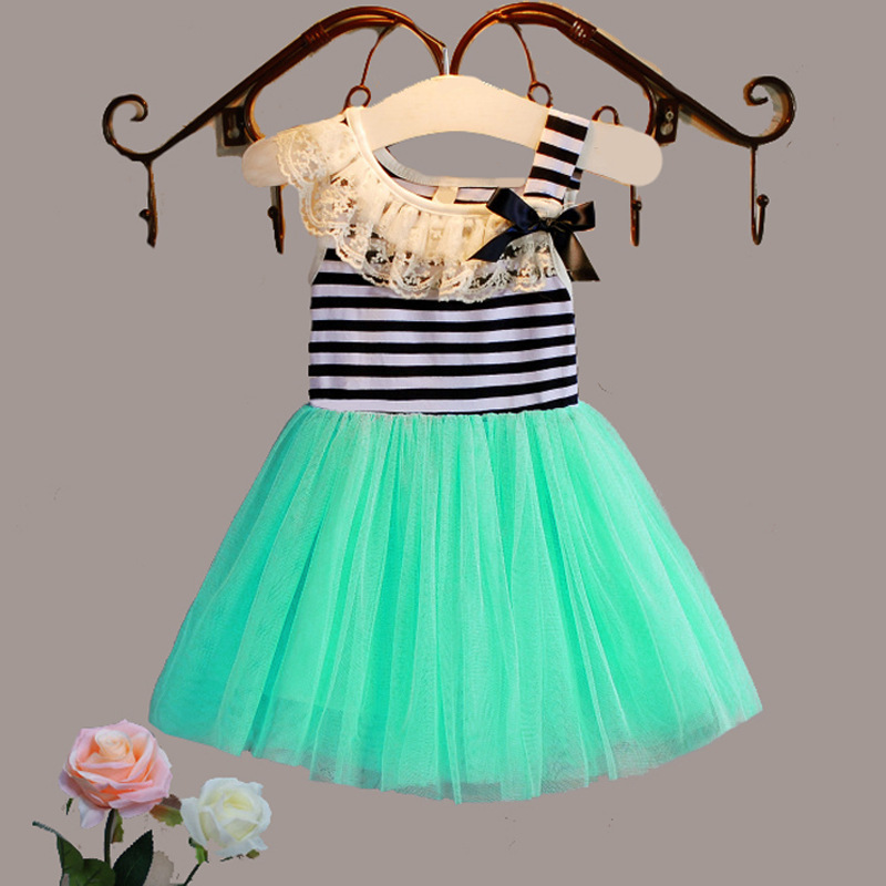 2016 Summer Lace Baby Girl Dresses Princess Children Dress Stripe Baby Clothing Kids Sleeveless Dress Bow Girls Clothes Costumes(China (Mainland))