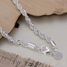 Elegant Silver Plated Twisted Rope Design Bracelet Bangle Chain 1ML2 3ALV
