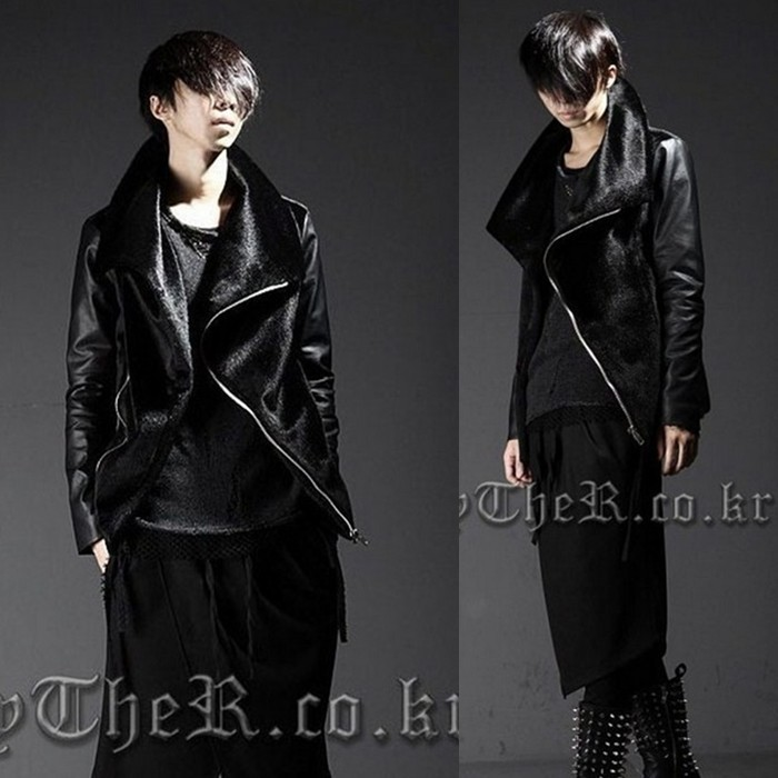 2014 Mens new fur coat Korean Slim fight skin leather costumes tide hairstylist patchwork jacket outerwearОдежда и ак�е��уары<br><br><br>Aliexpress