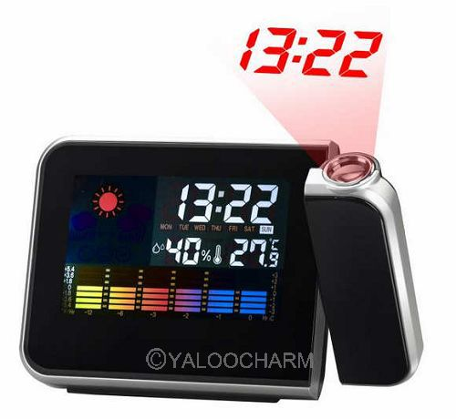 Hot Sale Digital LCD Screen LED Projector Alarm Clock Mini Desktop Multi-function Weather Station Forecast Calendar clock 80320(China (Mainland))