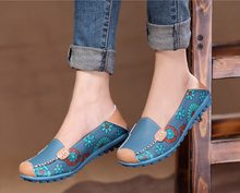 New 2015 hot sale summer Fall Women genuine leather flats soft leather shoes women s round