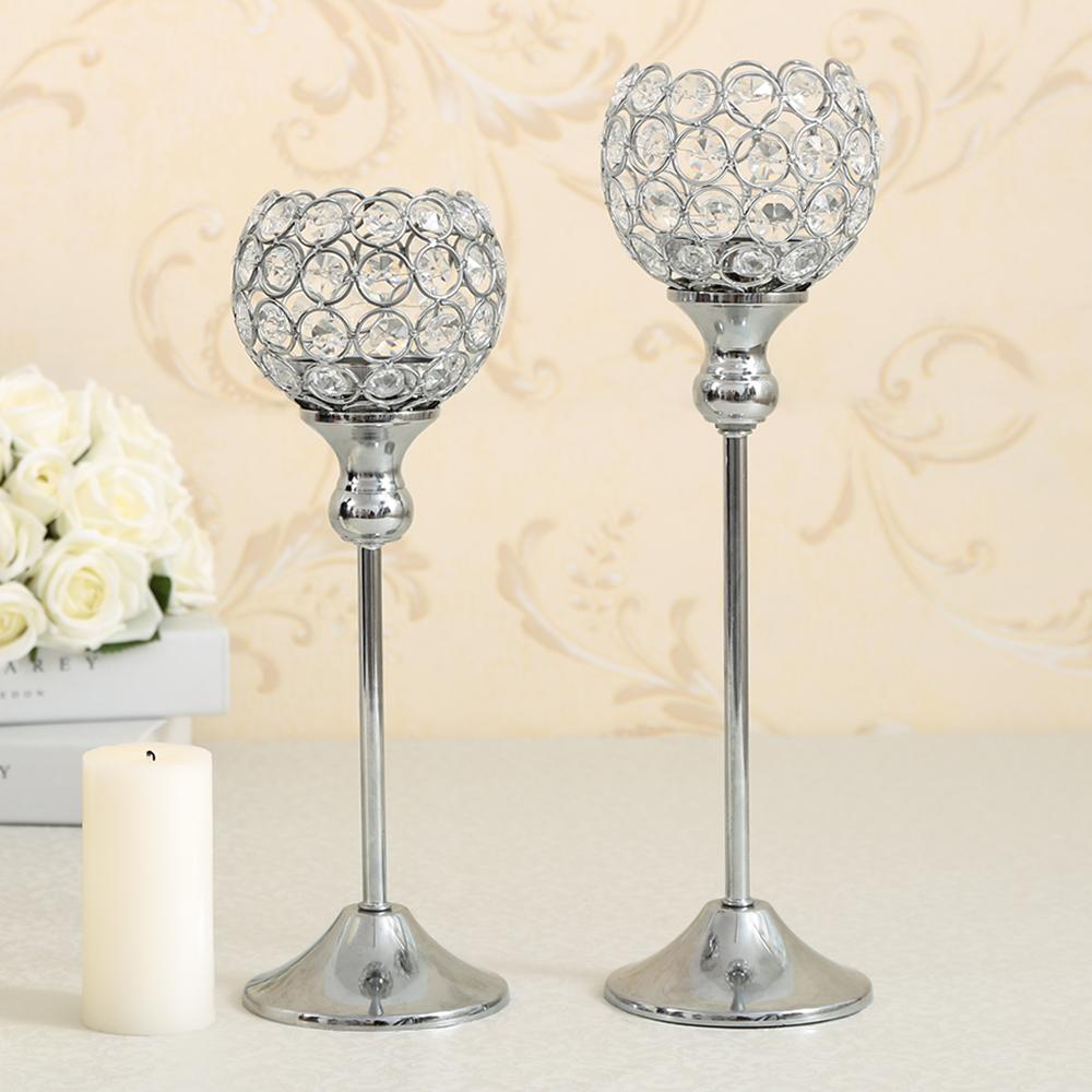 Crystal Candlestick Metal Silver Plated Candle Holder Home Wedding Lantern Decoration Candelabrum Sets(China (Mainland))