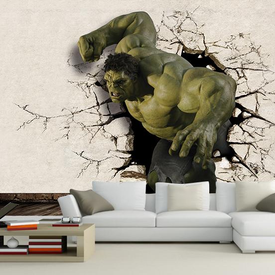 hot sale 3d hulk mural wallpaper full wall murals print. Black Bedroom Furniture Sets. Home Design Ideas