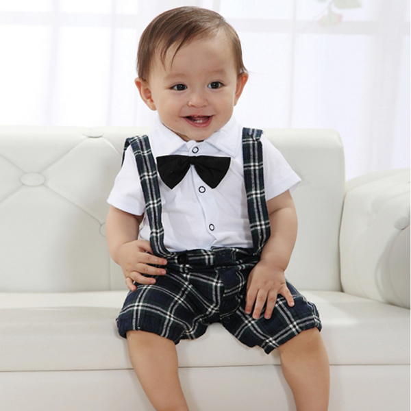Cute Baby Boy Casual Wedding Suit 0-3Y Clothes Set Vest Kawaii Plaid Straps Bowtie(China (Mainland))