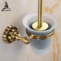 Free Shipping Wholesale and Retail High end Carving Wall Mounted Toilet Cleaning Brush Antique Brass Toilet