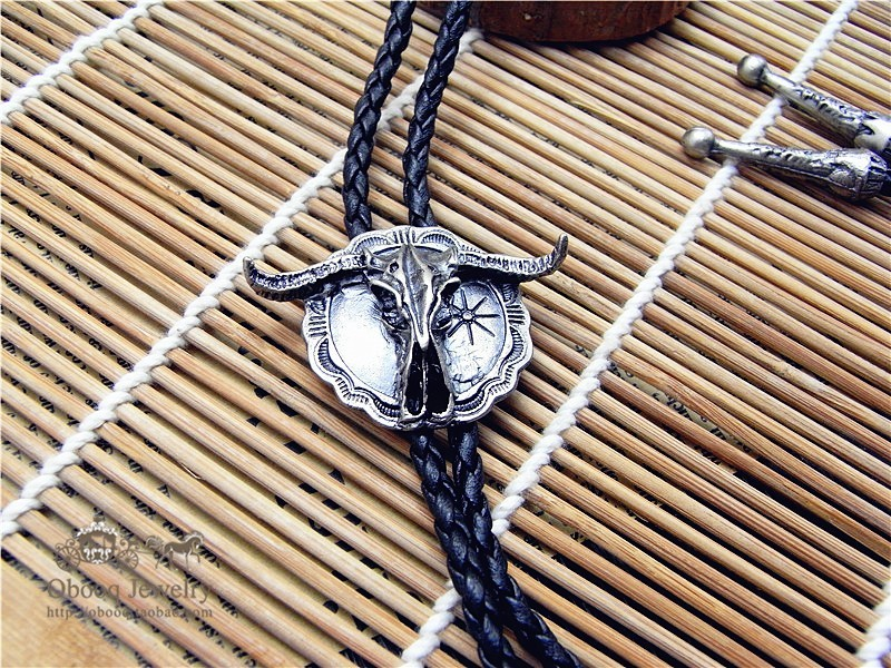 Bolo Tie  Retro shirt chain Bison cow poirot led rope leather necklace Long tie hang