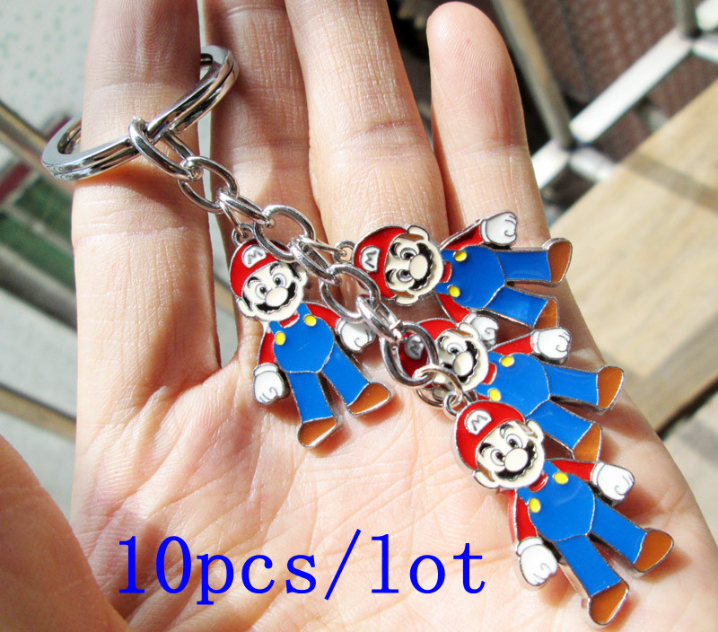 10pcs/lot Super Mario Bros Toys keychains Doll Pendant Figure(China (Mainland))