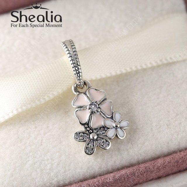 2016 весенняя коллекция стерлингового серебра 925 поэтический блум эмаль цветок мотаться подвески бусины браслеты DIY ювелирных украшений DG184