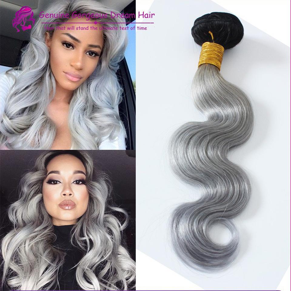 10-28inch brazilian virgin gray hair 1PC/LOT 100% unprocessed bundles #1b/grey ombre human hair weaving  <br><br>Aliexpress