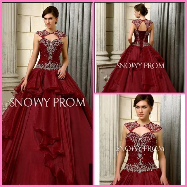 Высокая шея бордовый пышное платье полная длина длинная принцесса со складками и ...