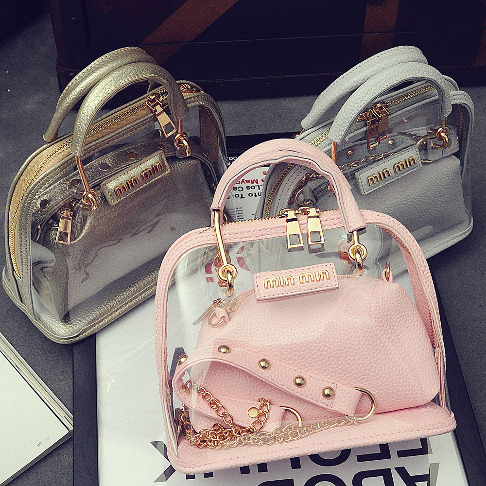New 2015 transparent bag small shell bag women messenger bag chain picture package one shoulder cross-body mini women handbag(China (Mainland))