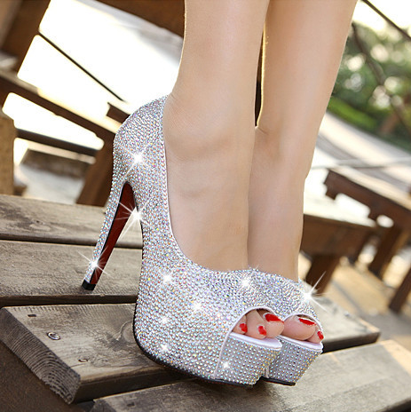 2015 TOP QUALITY 14CM SEXY FASHION HIGH HEELS DIAMOND RHINESTONE WEDDING BANQUET RED WHITE SILVER CRYSTAL WOMEN SHOES LADY(China (Mainland))