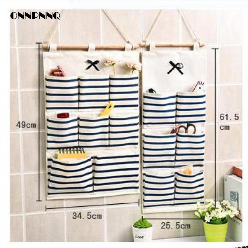 1pcs Cute Simple Cotton Door Hanging Storage Bag Home Kitchen Wall Multifunctional Hanging Bag Organizer Folding Bag(China (Mainland))