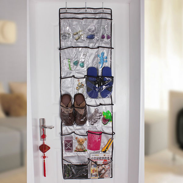 Clear Vinyl Over The Door 22Pockets Shoe Clothes Sock Hanger Organizer Storage plastic bag Rack neat(China (Mainland))