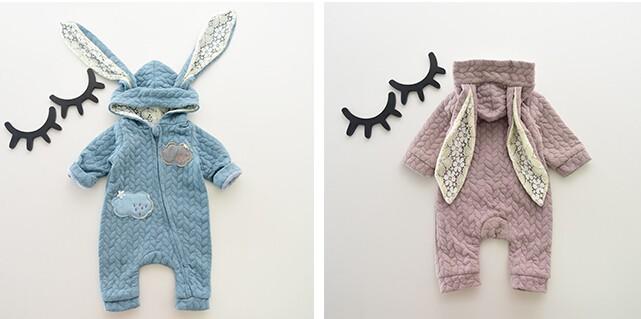 Скидки на 2016 ЗИМА Новый стиль милые мальчики и девочек детский комбинезон детские длинные уши кролика с капюшоном комбинезон новорожденных хлопок верхняя одежда