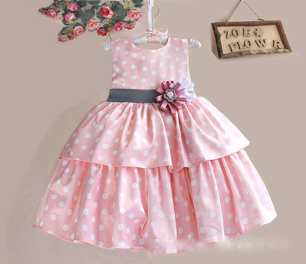 High quality Polka Dots 100% Cotton Baby Girls Dresses Sleeveless Pink Handmade Flower Bow Kids Party Dress Ball Gown 1-6 Years(China (Mainland))