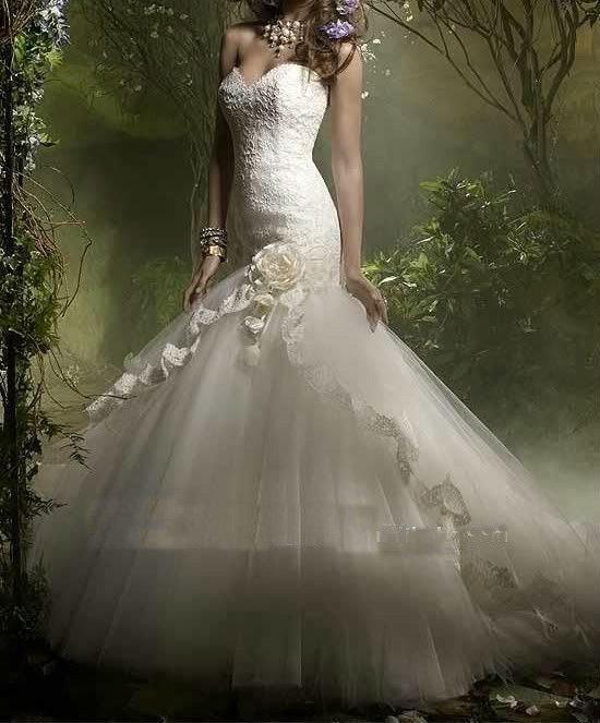 Free Shipping Mermaid Style Tulle Romantic Spanish Lace Wedding Dresses Hot XCSD