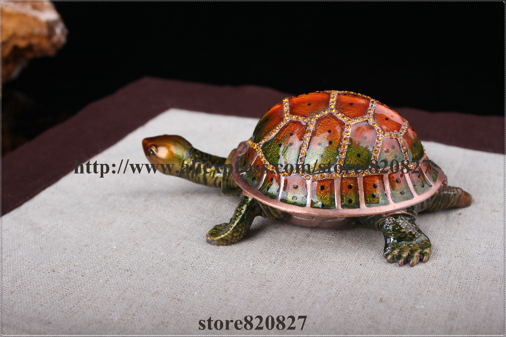 Moving Head Sea Turtle Keepsake Box Trinket Turtle Shape Jewelry Box Turtle Decorative Trinket Box Jeweled 8*7.2*3 CM (L*W*H)
