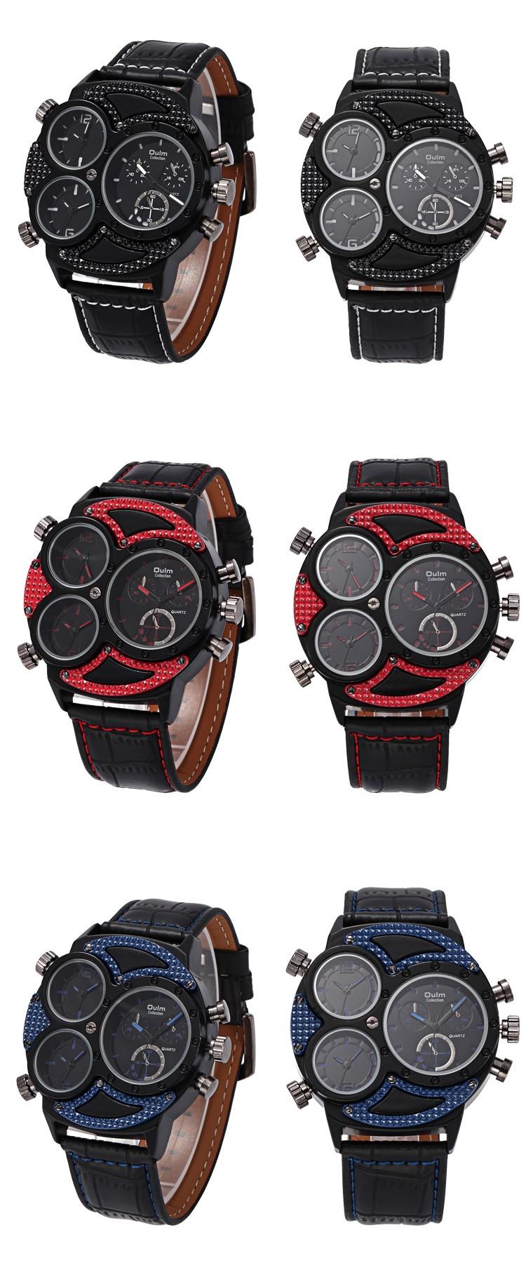 2016 Oulm luxury Brand HP3594-2 Мужские Часы Множественный Часовой пояс Наручные часы спортивные часы мужчин