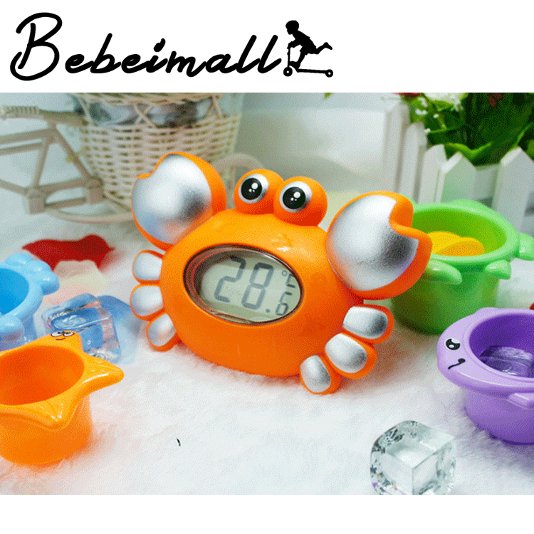 Fashion Cute Cartoon Crab Baby Infant Bath Tub Thermometer Water Temperature Tester with Bath Toys Set(China (Mainland))