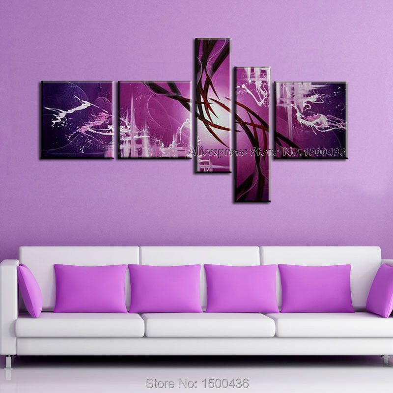 hand painted modern abstract oil painting canvas purple wall art 5 piece home decoration picture. Black Bedroom Furniture Sets. Home Design Ideas