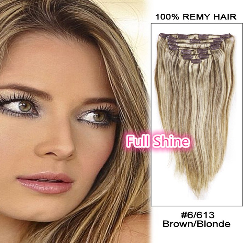 Full Shine 2016 Balayage Ombre Color Clip in Remy Human Hair Extensions Full Head Straight 7 Pcs highlighted Virgin Hair P6/613