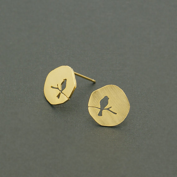 30pairs/lot Gold Silver Geometric Jewelry Stainless Steel Charm Hollow Bird On A Branch Stud Earrings For Women Men Fashion Gift<br><br>Aliexpress
