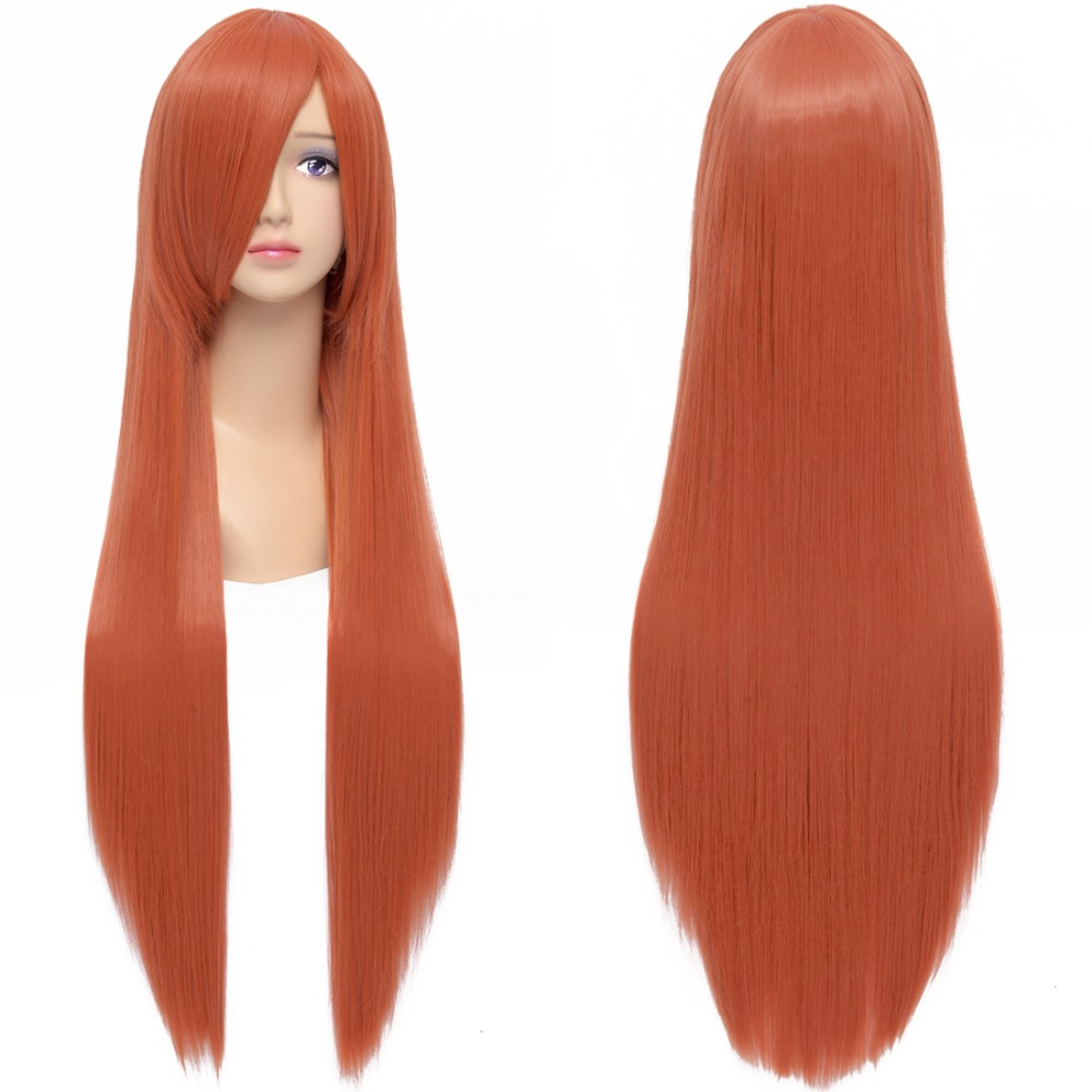 80cm Long Straight Orange Red Cosplay Costume Party Wigs Heat Resistance Cheap Anime Hair Wigs Free shipping<br><br>Aliexpress