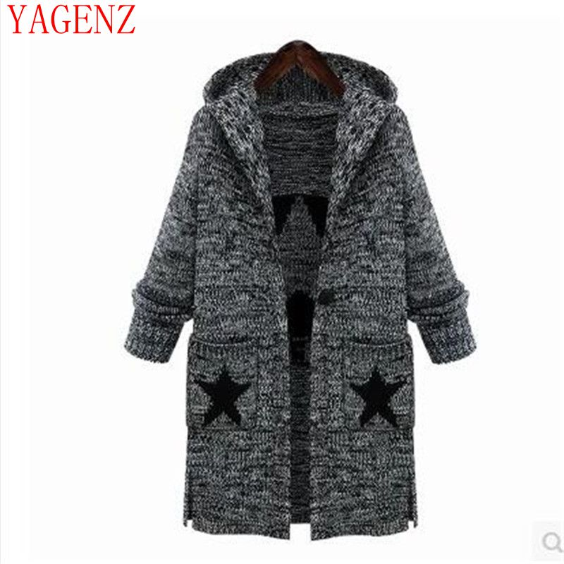 The winter clothes Big yards warm sweater coat the new Europe and the United States women's thick knit hooded jacke KG54 YAGENZ(China (Mainland))
