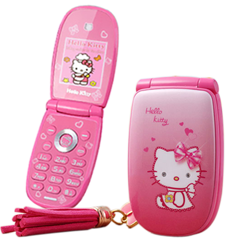 "KUH W88 Flip unlocked vibration 1.8"" pretty flashlight small woman kid girl cute hello kitty cartoon mini mobile phone P473(China (Mainland))"