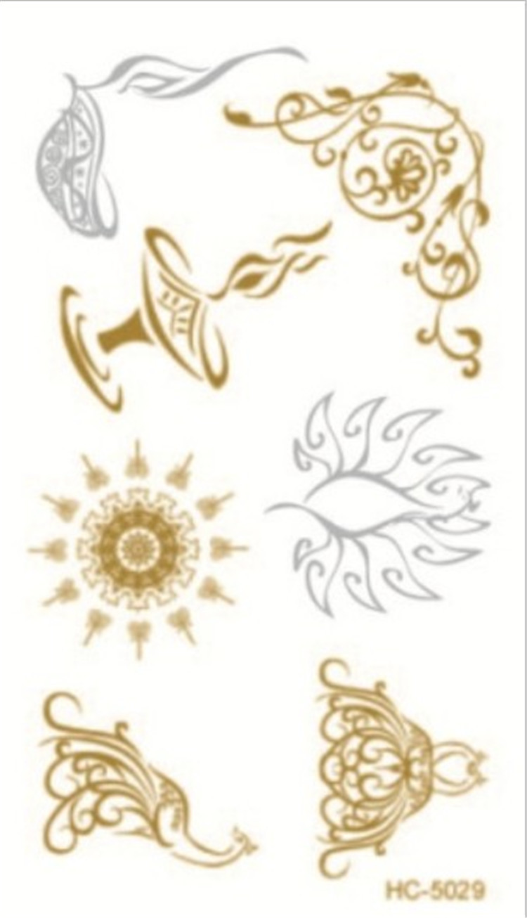 10.5x6cm HC-5029 Hot Fashion Women Men Jewelry Metallic Gold Silver Temporary Tattoos Jewelry Flash Body Bling Stickers(China (Mainland))