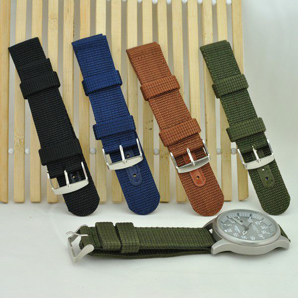 4 Color New MILITARY Army NYLON CANVAS WRIST WATCH BAND STRAP 18mm 20mm(China (Mainland))