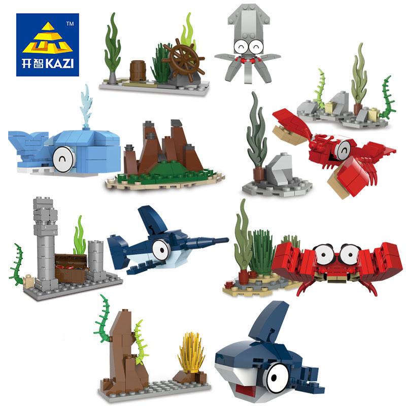 KAIZHI 2016 Cute Marine Animal Assembly Model Building Blocks Kids DIY Plastic Brick Children Learning Education Toys 5-12 Years<br><br>Aliexpress