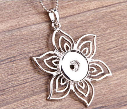 10pcs/lot fashion silver plated flower rhinestone snap necklace pendant jewelry ginger snap charm button pendant Free ship