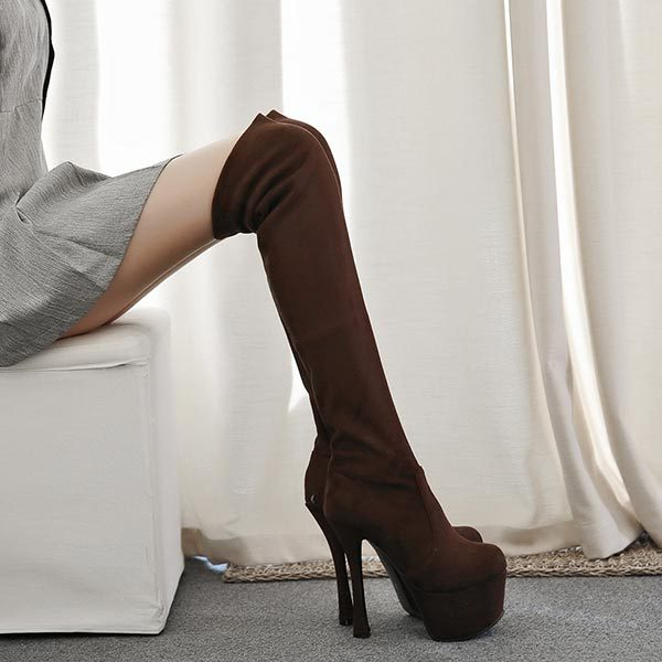 Spring Autumn Flock Ultra High Heels knee motorcycle boots women 15 cm high heels platform Party Dress Pumps V014