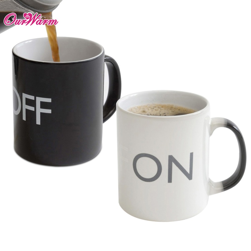 ON/OFF Color Changing Mug Heat Sensitive Magical Ceramic Cup Creative Coffee Drinking Cup(China (Mainland))