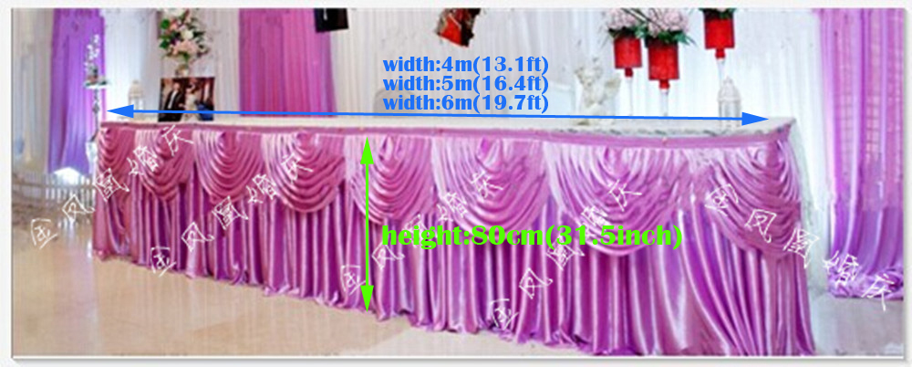 "13.1ft(W)*31.5""(H) white ice silk lilac Tablecloth wedding table skirt banquet party table skirt with swag table cover(China (Mainland))"