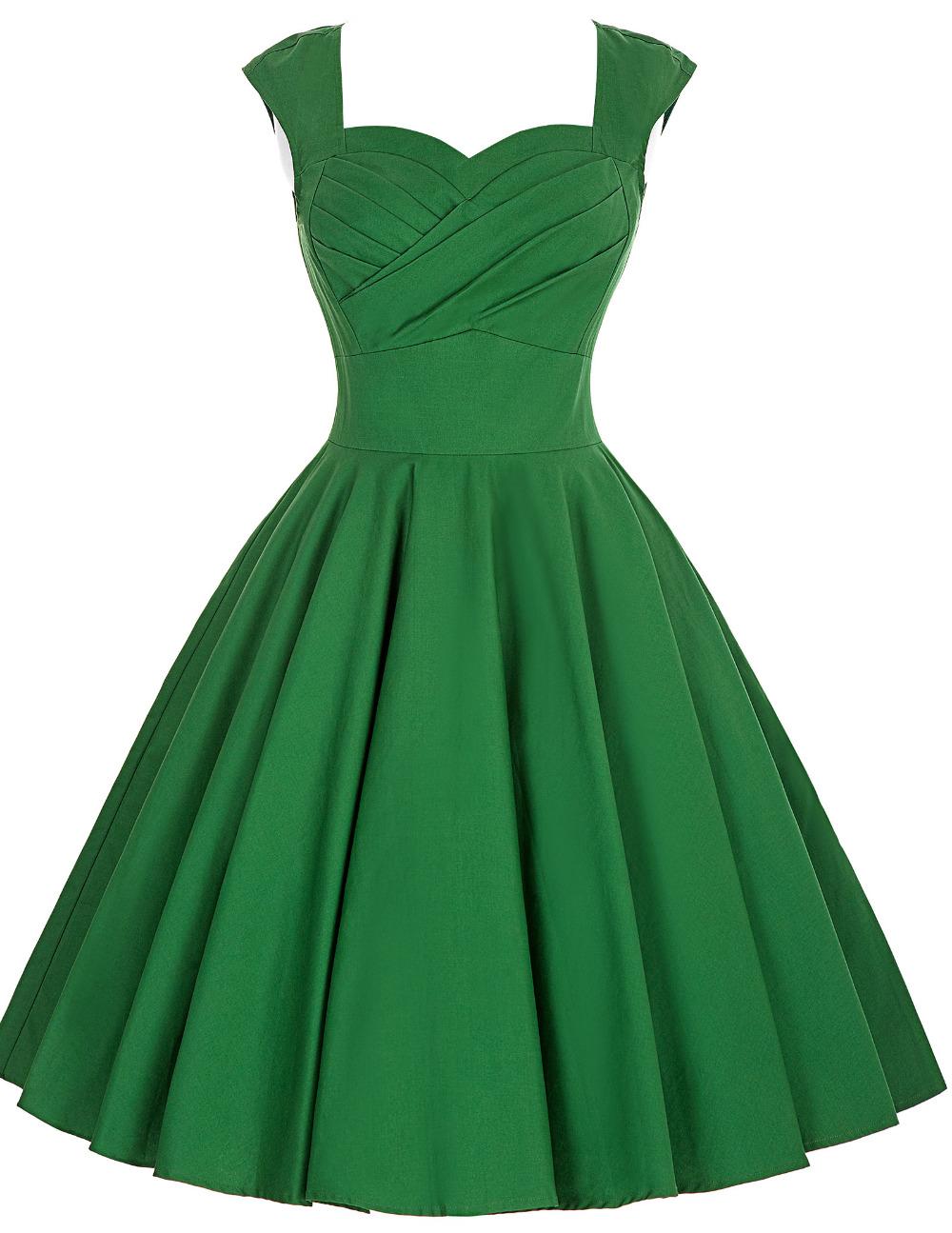 emerald green women dresses 2016 Ruched Bodice Sleeveless Solid Color cotton 50s rockabily dresses robe vintage vestidos summer Одежда и ак�е��уары<br><br><br>Aliexpress
